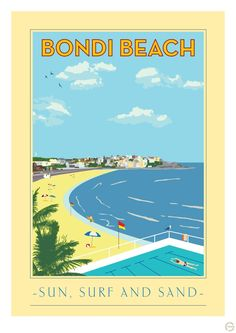 Vintage Poster Vintage Bondi Beach Print - Original Mokoh Design print, proudly designed and printed in Western Australia. Simply frame with a window mount and enjoy! Australia East Coast, Bondi Beach Australia, Australia Travel, Sydney Australia, Posters Australia, Australian Vintage, Cities, Vintage Travel Posters, Retro Posters