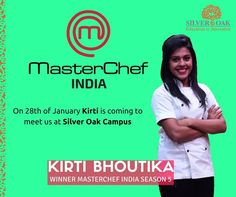 "Silver Oak Group of Institutes is celebrating ""Girl Power"". Kirti Bhoutika Winner of Master Chef Season 5 is coming on 28th January at Silver Oak College Of Engineering & Technology Campus.  Be ready girls........ #Computer #SilverOak #Ahmedabad #Engineering #Technology #Master #Chef #Celebrity #Visit"