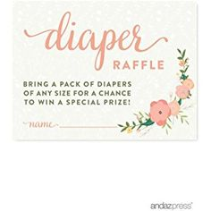 Andaz Press Floral Roses Girl Baby Shower Collection, Games, Activities, Decorations, Diaper Raffle Cards, 30-pack