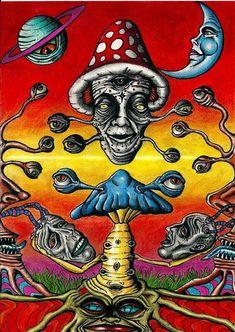 Shroomz by Acid-Flo on DeviantArt Acid Trip Art, Acid Art, Hippie Painting, Trippy Painting, Trippy Drawings, Art Drawings, Psychedelic Art, Dope Kunst, Images Esthétiques