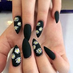 Beautiful black matte nails with white flowers - LadyStyle