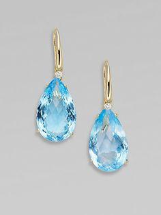 Roberto Coin - Blue Topaz, Diamond & 18K Yellow Gold Earrings - Saks.com