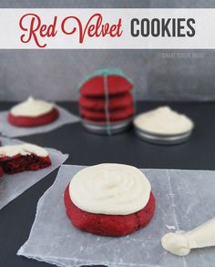 Red Velvet Cookies! An EASY and QUICK recipe made from store bought pre-made cupcake mix (yup, cupcake mix!)