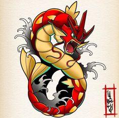 Gyarados, Pokemon - Famous Last Words Pokemon Tattoo, Pokemon Fan Art, Pokemon Pins, Pokemon Team, Pokemon Gyarados, Flying Type Pokemon, Overwatch Wallpapers, Comic Art, Street Art