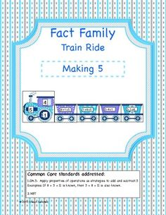 *This is a sample center from my Fact Family Train Ride Making 5 Through 15 Pack*  To get the rest of the fact families (6 through 15) please visit my store.Fact Family Train Ride is an independent center created to give students practice with fact families and memorization of their addition and subtract facts.In this center students are asked to match each addition and subtraction fact with the number family of 5.