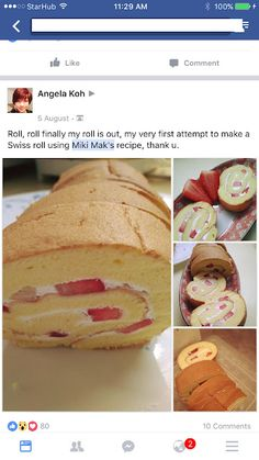 Cake Receipe, Cake Roll Recipes, Vanilla Swiss Roll Recipe, Japanese Roll Cake, Chiffon Cake, Rolls Recipe, Cream Recipes, Kid Friendly Meals, Cakes And More