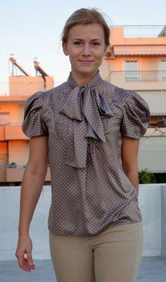 Dotted Tie Blouse by zoaki via BurdaStyle