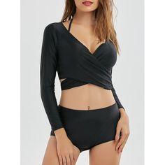 Underwire Twist Bikini with Wrap Crop Top - Black 2xl Mobile