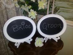 Shabby Chic Oval Wedding Chalkboards Set of by WhimsicalLoveBirds, $22.95