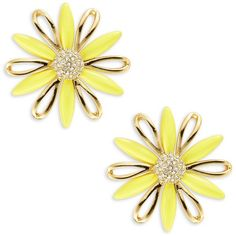 Kate Spade New York Daisy Dreams Earrings ($31) ❤ liked on Polyvore featuring jewelry, earrings, yellow, kate spade, daisy earrings, sparkly earrings, sparkle jewelry and post earrings