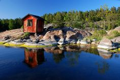 Boat house in Stockholm archipelago, Sweden.
