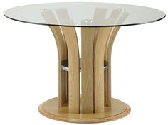Designed with elegant curves and luxurious real wood veneer, the JF601 dining table stands out from the crowd. The clear, toughened, round glass top allows you to view the beautiful, unique curved legs.
