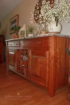 Solid cherry hardwood sideboard (using customer's granite top) - custom furniture for all rooms of your home, handcrafted using reclaimed barnwood or select hardwoods - www.braunfarmtables.com