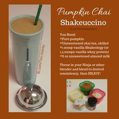 Want to enjoy Fall with a Starbucks Pumpkin Spice Frappuccino that is 21 Day Fix approved? This recipe fits the bill with real pumpkin and Shakeology!  You can also make it with pumpkin spice coffee i