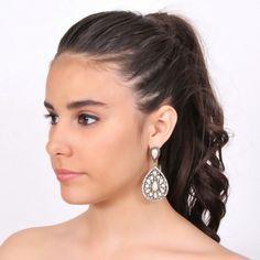 Wedding golden earrings with Swarovski crystal and pearl - Orecchini sposa dorati con perla e strass Swarovski