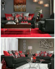 Red Grey and Black Living Room. 20 Red Grey and Black Living Room. 46 Vintage Apartment Living Room Design Ideas for Valentines Black And Red Living Room, Red Living Room Decor, Living Room Sofa, Apartment Living, Living Room Designs, Living Room Furniture, Rustic Furniture, Apartment Kitchen, Red Living Rooms