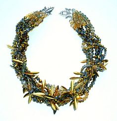 Gia Black Diamond Crystal and Gold Collar Necklace Statement Jewelry   MIA ELLIOTT
