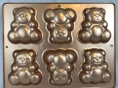 Wilton 2004 Gold Tone Teddy Bears Mini Treats Cake Pan Collectible in Collectibles, Kitchen & Home, Kitchenware, Bakeware, Cake Pans | eBay