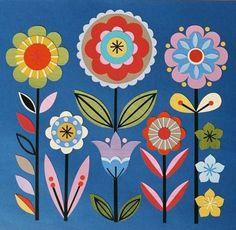Folk Embroidery Design DIY Needlepoint Canvas 14 or 18 countLori Everett Whimsical Folk Art Flowers, Flower Art, Paper Flowers, Art Floral, Bordado Popular, Art Fantaisiste, Polish Folk Art, Art Carte, Scandinavian Folk Art