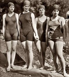 ".these wool swimsuits are probably the reason mama's objected to ""mixed"" swimming."