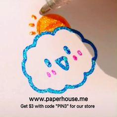 Smile Cloud ✨Bold Line Glitter Gel Pen✨ Gel Pen Art, Gel Pens, Bullet Journal Art, Bullet Journal Ideas Pages, Glitter Gel, Brush Pen, Easy Drawings, Doodle Art, Cute Art
