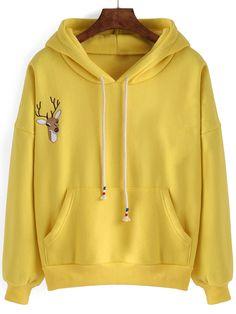 Hooded Drawstring Deer Embroidered Yellow Sweatshirt 14.00