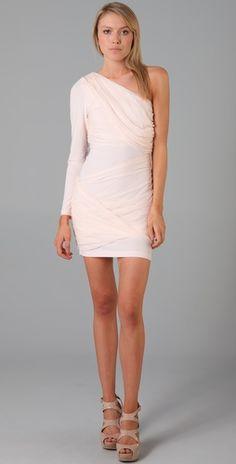 Alice + Olivia Pale Pink One Shoulder Goddess Dress