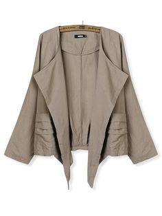 Boutique Camel Casual Linen Batwing Long Sleeve Solid Slim Jacket Coat - $50
