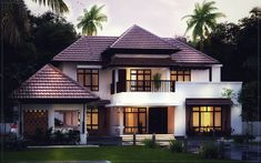 Searching for 2800 sqft 4 bed room residence Kerala ? then here is a modern Kerala style villa concept from the leading home design team Cochin . Indian Home Design, Kerala House Design, Village House Design, Indian House Exterior Design, Classic House Exterior, 3d Home Design, Plan Design, Design Ideas, House Floor Design