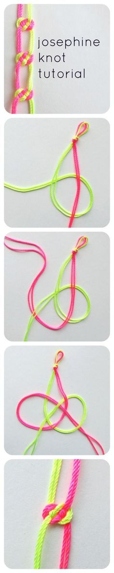 "Josephine Knot Tutorial "" The josephine knot is my favorite knot ever. I learned it while making a macrame plant hanger at Craftcation 2013 and I have been addicted ever since! You can use it to make..."