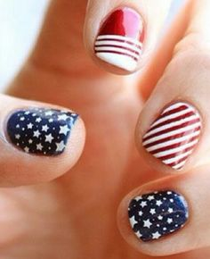Nails art. red white and blue nail polish designs.