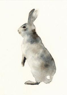 For the wall - Grey Rabbit No. 2 Archival Print, via Etsy