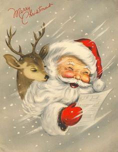Santa & one of his reindeer.