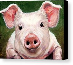 Sweet Little Piglet On Green Canvas Print by Dottie Dracos.  All canvas prints are professionally printed, assembled, and shipped within 3 - 4 business days and delivered ready-to-hang on your wall. Choose from multiple print sizes, border colors, and canvas materials.