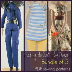 PDF Sewing Pattern for Fancydoll Clothes - bundle of 5 ePattern