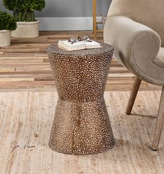 Bronze Drum Table - Metal End Round