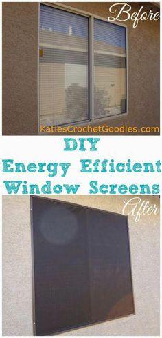 DIY Energy Efficient Window Screens —- www.katiescrochet… DIY Energy Efficient Window Screens —- www. Home Renovation, Home Remodeling, Kitchen Remodeling, Remodeling Contractors, Energy Efficient Windows, Energy Efficiency, Energy Saving Tips, Save Energy, Energy Saver
