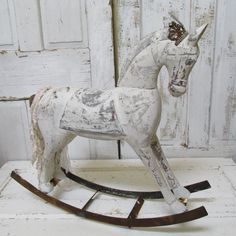 Wooden Rocking Horse Shabby Distressed Inspired Handmade Crown Monochromatic…