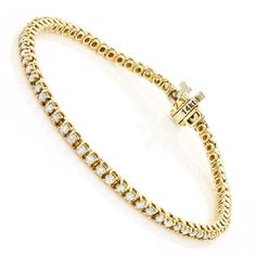 This luxurious Gold Round Diamond Tennis Bracelet showcases carats of sparkling round diamond, each masterfully prong set in a solid gold frame. Featuring a classic design and a highly polished gold finish, this ladies diamond tennis bracelet Gold Bangle Bracelet, Diamond Bracelets, Gold Bangles, Diamond Jewelry, Stacking Bracelets, Men's Jewelry, Modern Jewelry, Jewelry Bracelets, Jewellery