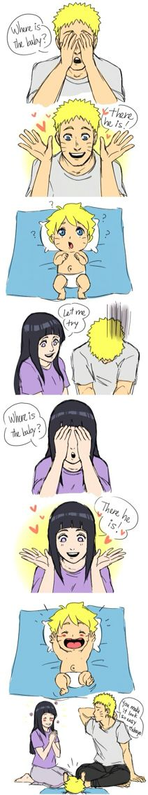 Naruto and Hinata with their son for playing peek boo