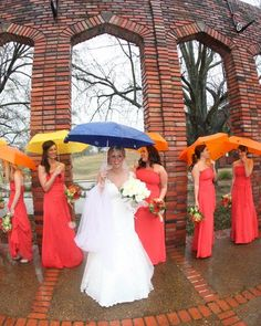Idea for a rainy wedding day.  My daughter got colorful umbrellas for the wedding party.