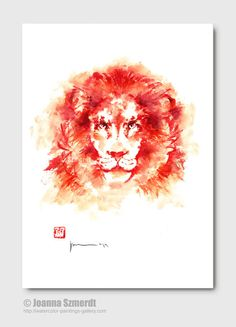 Lion painting lion illustration lion abstract by ColorWatercolor, $30.00  #fire #lion #animals
