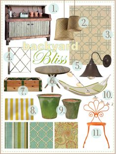 love this mood board for a patio or deck. via handmade home.