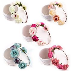 32b5e18a59a Bohemia Handmade Floral Headband Women Flower Crown Wedding Garland Hair  Accessories Girls Flower Hairband Bridal Headdress