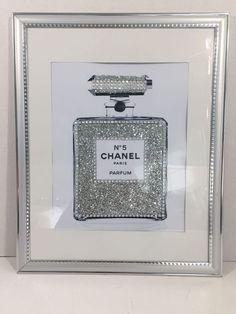 14X11 Framed Chanel No 5 Perfume Bottle Silver Glitter Bling Pop Art Print | eBay