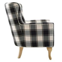 Best Dorel Living Knox Checkered Pattern Accent Chair Black 400 x 300