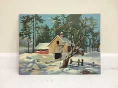 vintage winter snow scene barn paint by number by NomadsNovelties