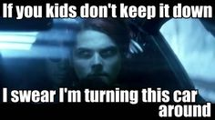 Gee when driving with the killjoys in SING