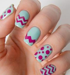One chevron pattern, two chevron patterns, a full nail of chevron pattern! Plus polka dots that makes you think of dino eggs you see in cartoons.