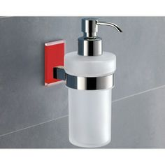 The #Red #Sale - Frosted Glass Soap Dispenser With Red Mounting (Gedy 7881-06) - Sale expires 12/6/13 at 11:59 p.m. EST